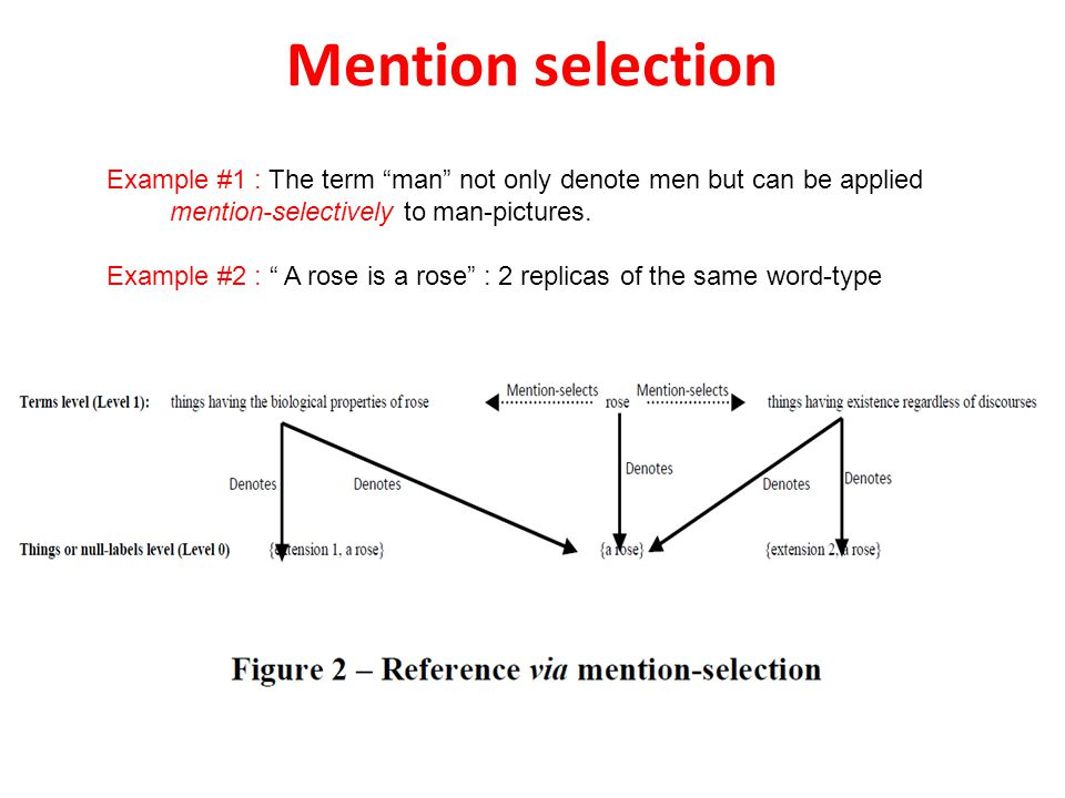 Mention selection Example #1 : The term man not only denote men but can be applied mention-selectively to man-pictures.