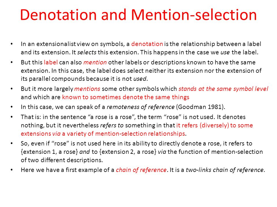 Denotation and Mention-selection