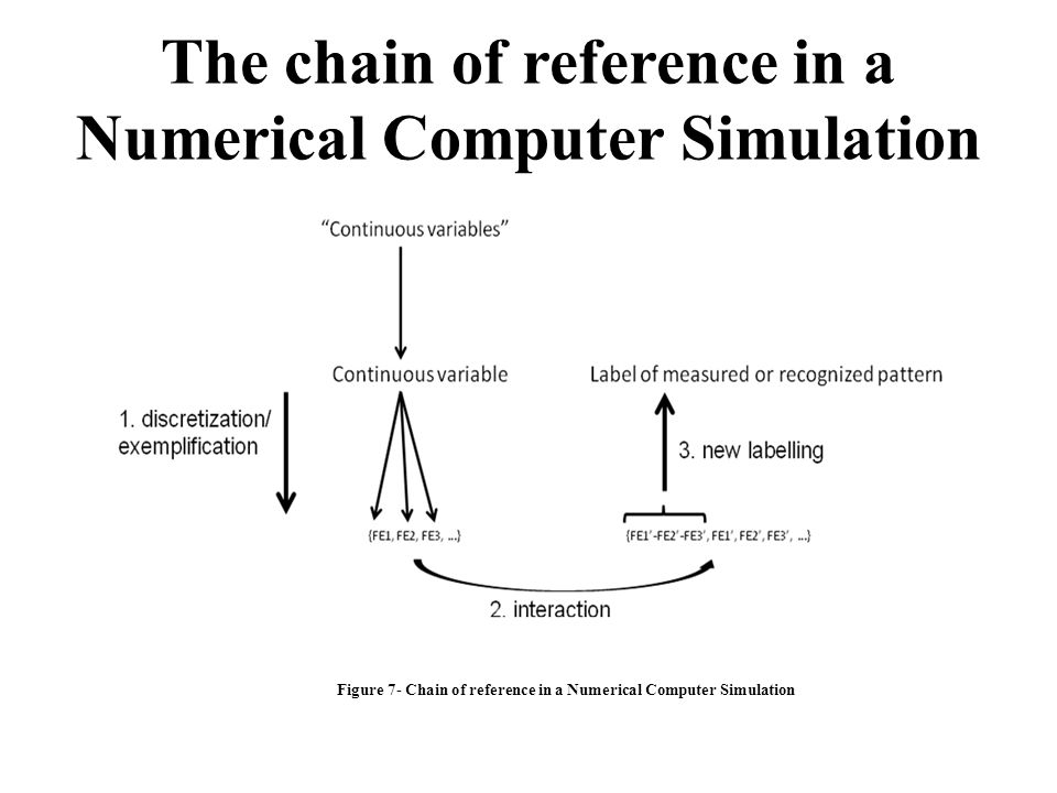 The chain of reference in a Numerical Computer Simulation
