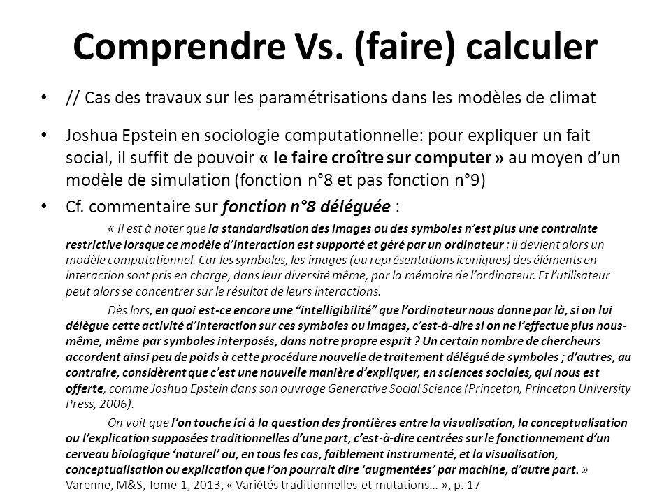 Comprendre Vs. (faire) calculer