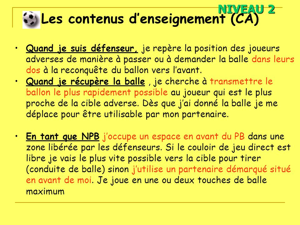 Contenus d enseignement en football oral 1 ppt video for Garage le plus proche de chez moi