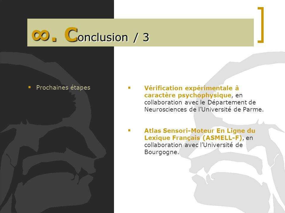 ∞. Conclusion / 3 Prochaines étapes