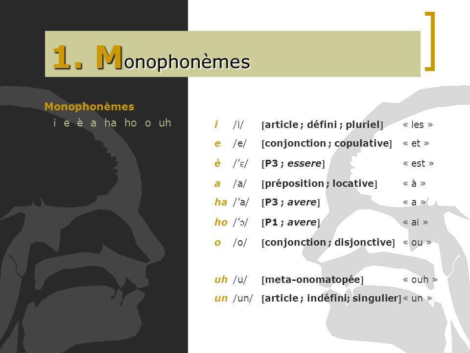 1. Monophonèmes Monophonèmes i e è a ha ho o uh