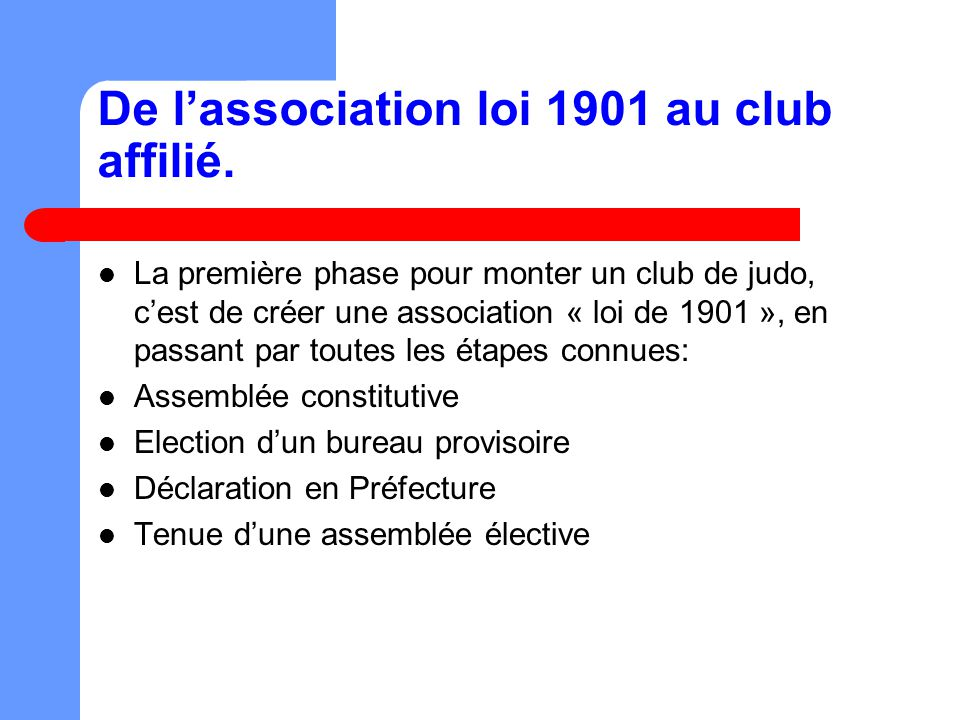 De l association loi de 1901 au club affili la ffjda - Election bureau association loi 1901 ...