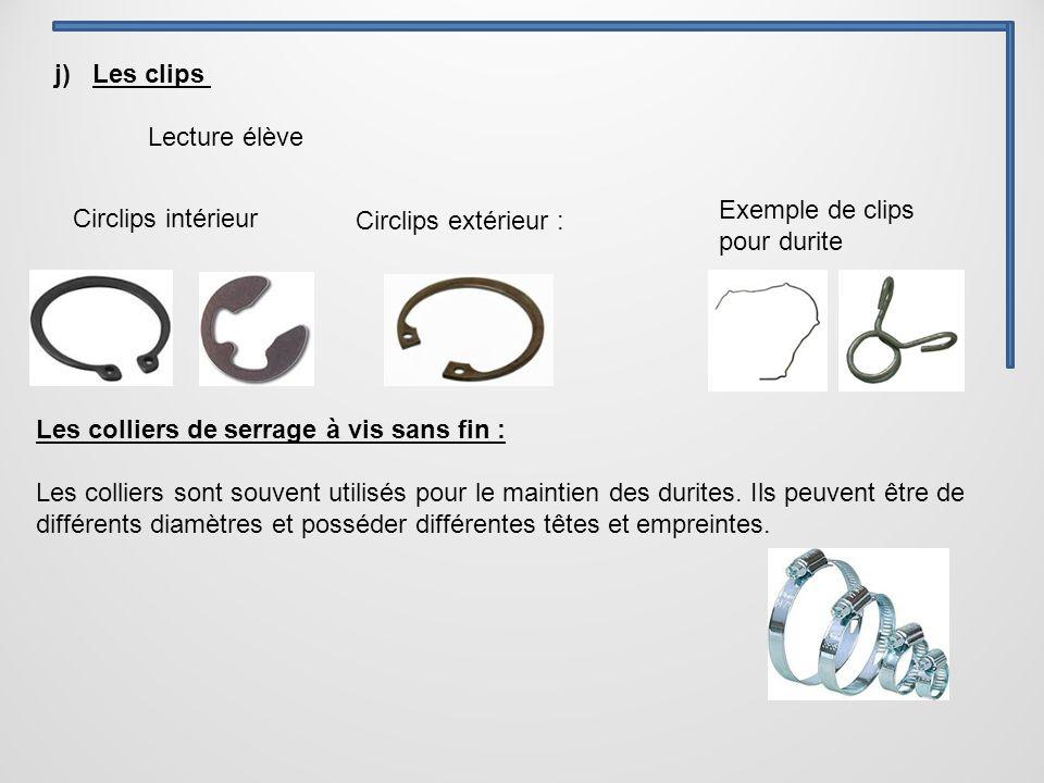 j) Les clips Lecture élève. Exemple de clips pour durite. Circlips intérieur. Circlips extérieur :