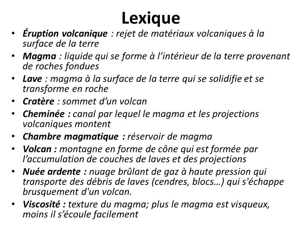 Lexique Éruption volcanique : rejet de matériaux volcaniques à la surface de la terre.