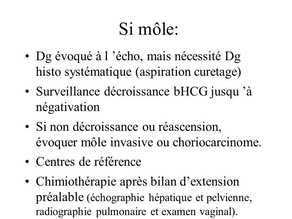 Si môle: Dg évoqué à l 'écho, mais nécessité Dg histo systématique (aspiration curetage) Surveillance décroissance bHCG jusqu 'à négativation.