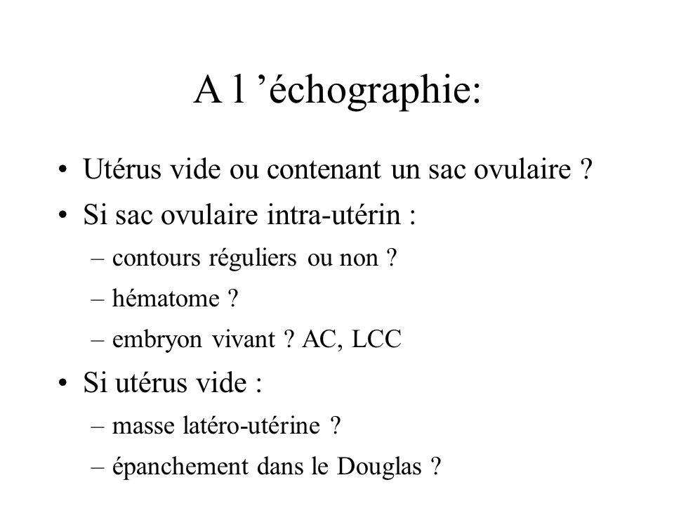 A l 'échographie: Utérus vide ou contenant un sac ovulaire