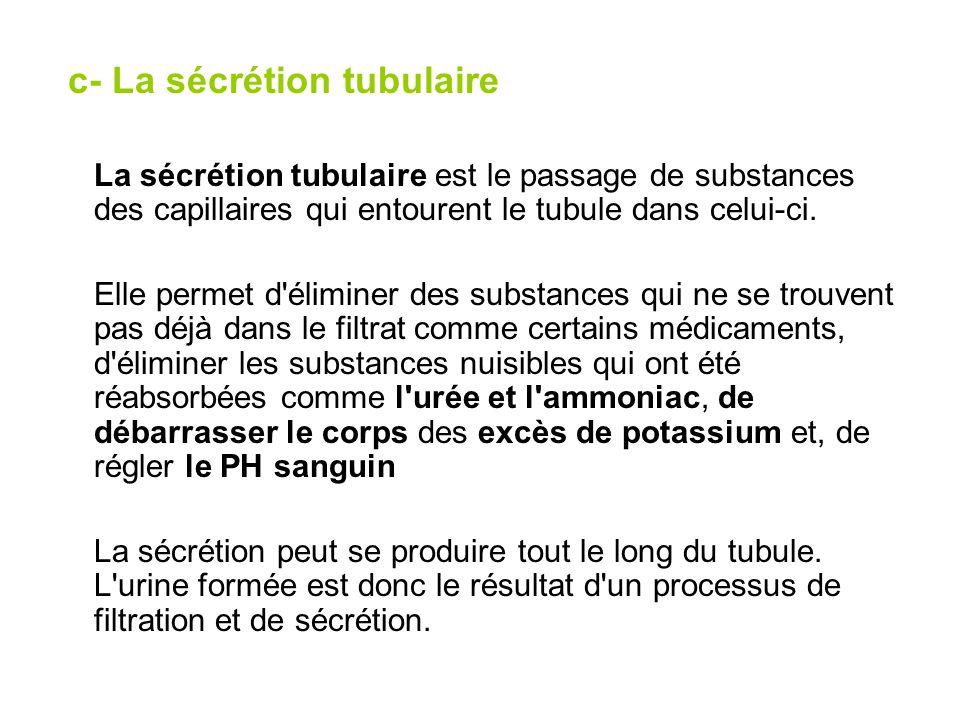 c- La sécrétion tubulaire
