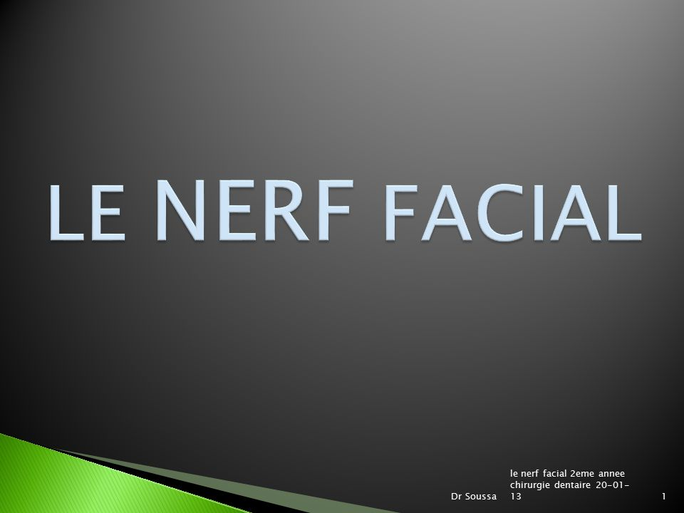 LE NERF FACIAL le nerf facial 2eme annee chirurgie dentaire