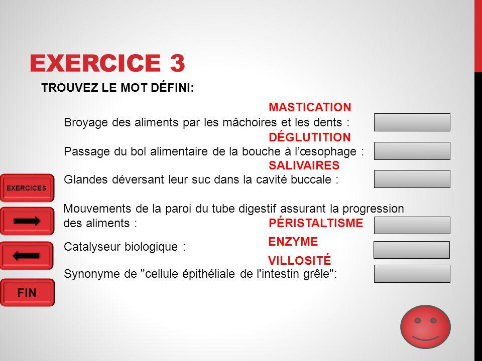 Exercice 3 TROUVEZ LE MOT DÉFINI: MASTICATION