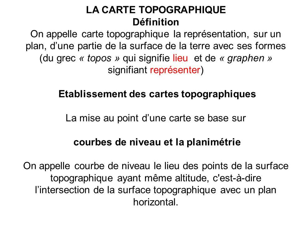 LA CARTE TOPOGRAPHIQUE Définition