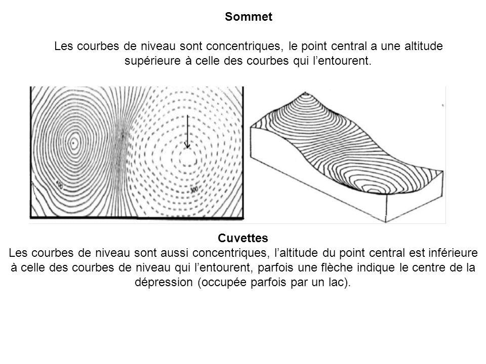Sommet Les courbes de niveau sont concentriques, le point central a une altitude supérieure à celle des courbes qui l'entourent.