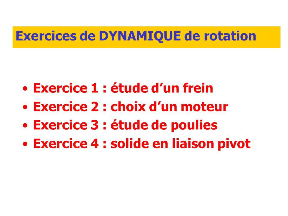 Exercices de DYNAMIQUE de rotation