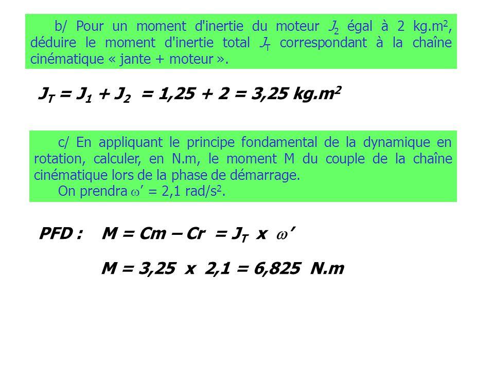 JT = J1 + J2 = 1,25 + 2 = 3,25 kg.m2 PFD : M = Cm – Cr = JT x w'