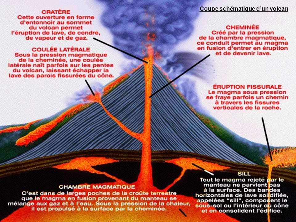 Coupe schématique d'un volcan