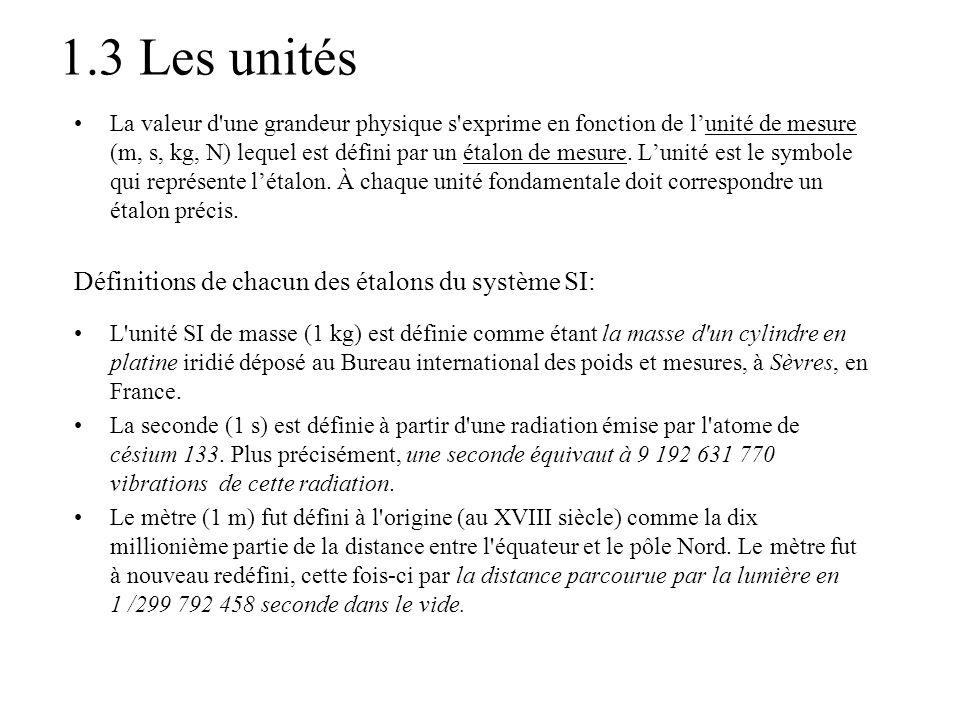 1.3 Les unités Définitions de chacun des étalons du système SI: