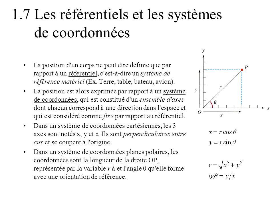 1.7 Les référentiels et les systèmes de coordonnées