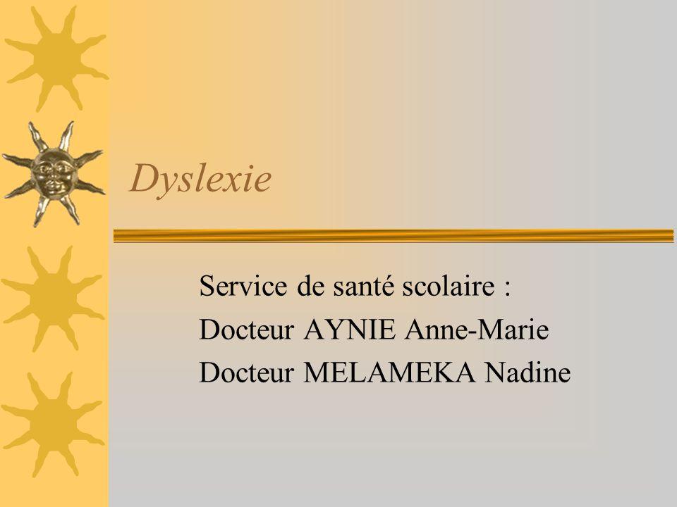 Dyslexie Service de santé scolaire : Docteur AYNIE Anne-Marie