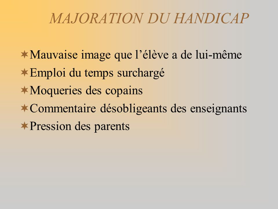 MAJORATION DU HANDICAP