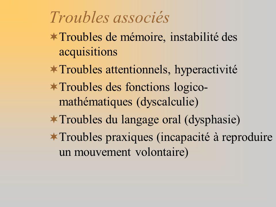 Troubles associés Troubles de mémoire, instabilité des acquisitions