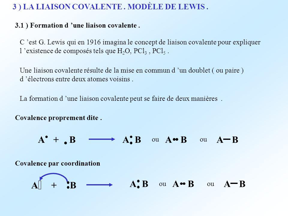 3 ) LA LIAISON COVALENTE . MODÈLE DE LEWIS .