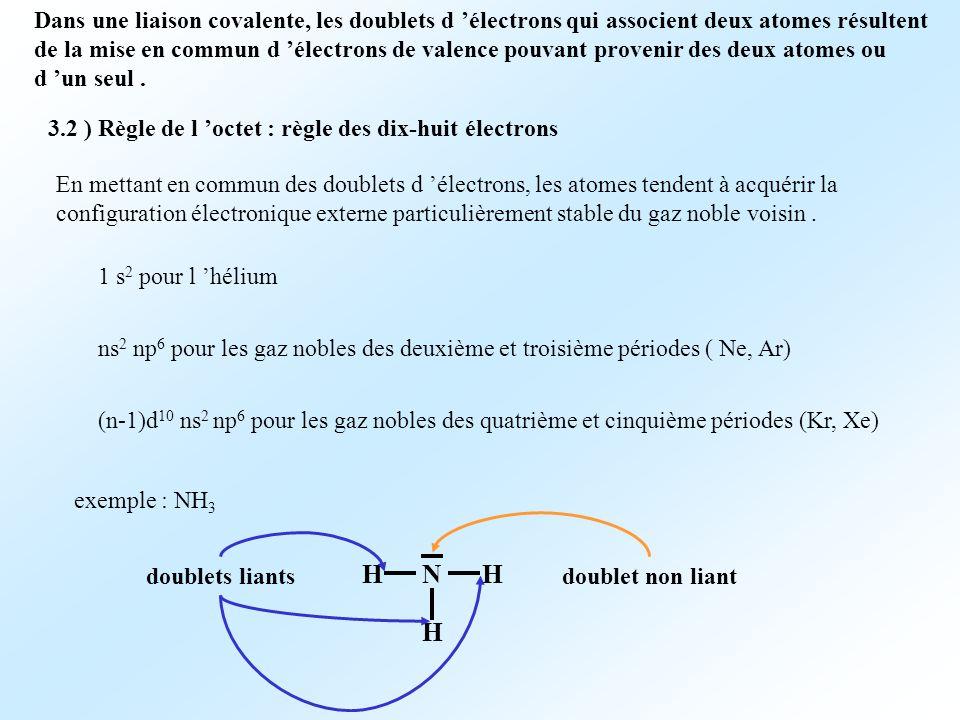 Dans une liaison covalente, les doublets d 'électrons qui associent deux atomes résultent de la mise en commun d 'électrons de valence pouvant provenir des deux atomes ou d 'un seul .
