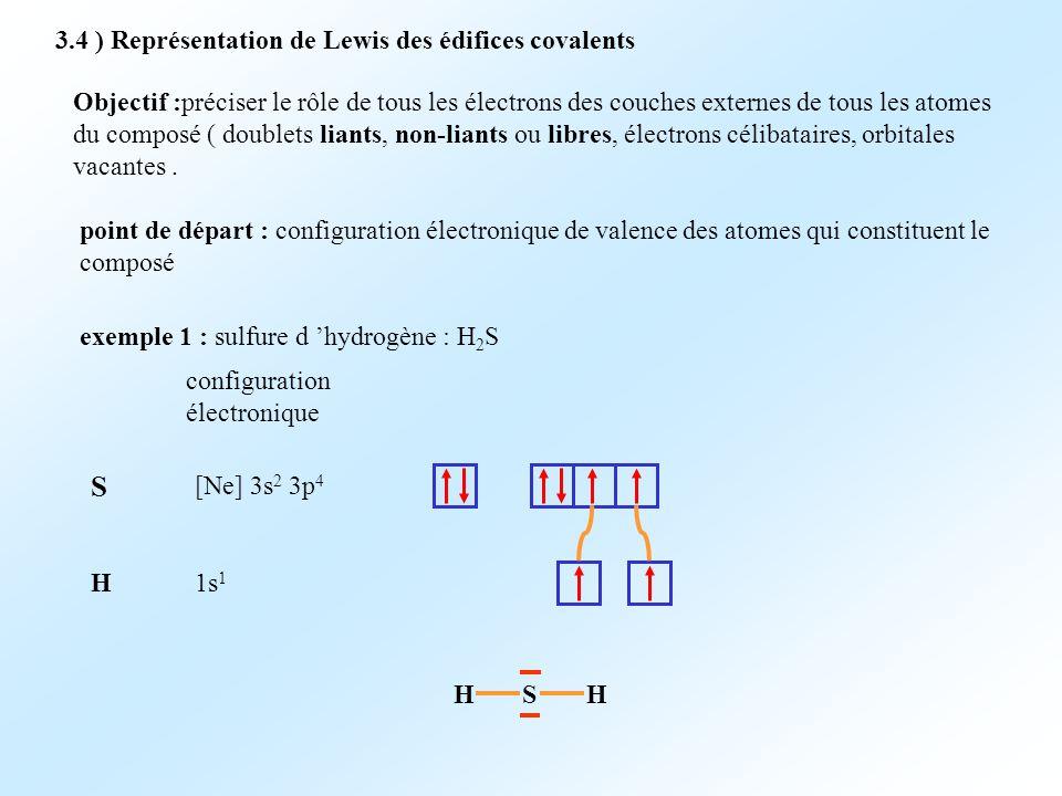 S 3.4 ) Représentation de Lewis des édifices covalents