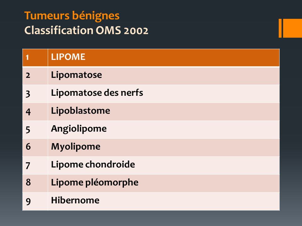 Tumeurs bénignes Classification OMS 2002