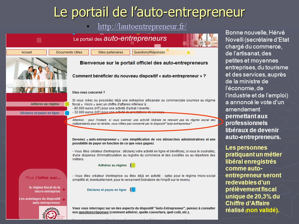 R union d information et de travail le 20 01 09 ppt for Idee de metier auto entrepreneur