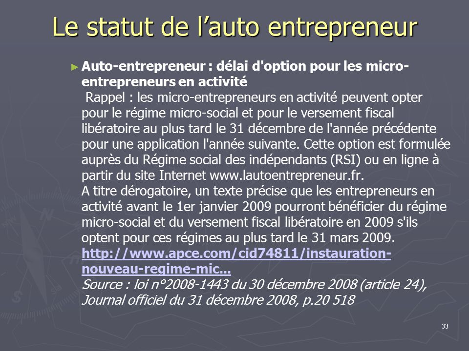R union d information et de travail le 20 01 09 ppt for Auto entrepreneur idees qui marchent