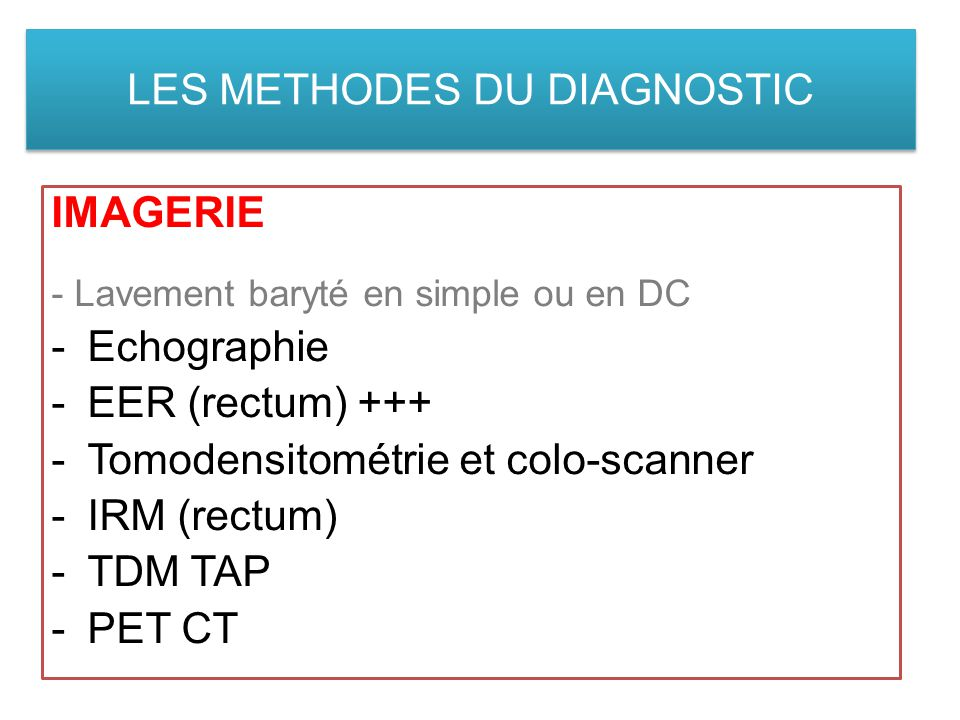 LES METHODES DU DIAGNOSTIC