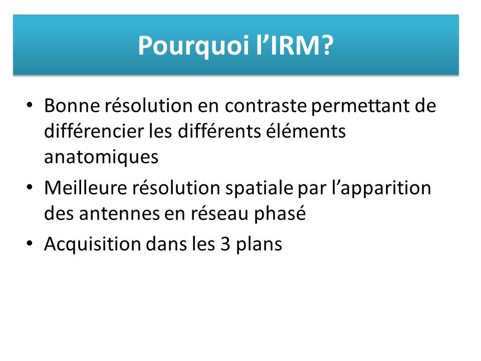 Pourquoi l'IRM Bonne résolution en contraste permettant de différencier les différents éléments anatomiques.