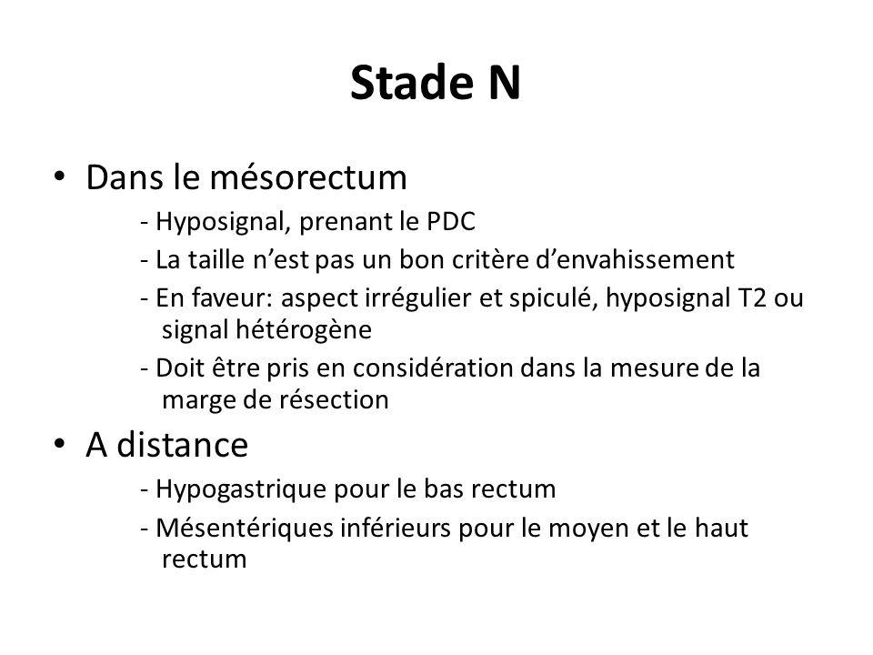 Stade N Dans le mésorectum A distance - Hyposignal, prenant le PDC