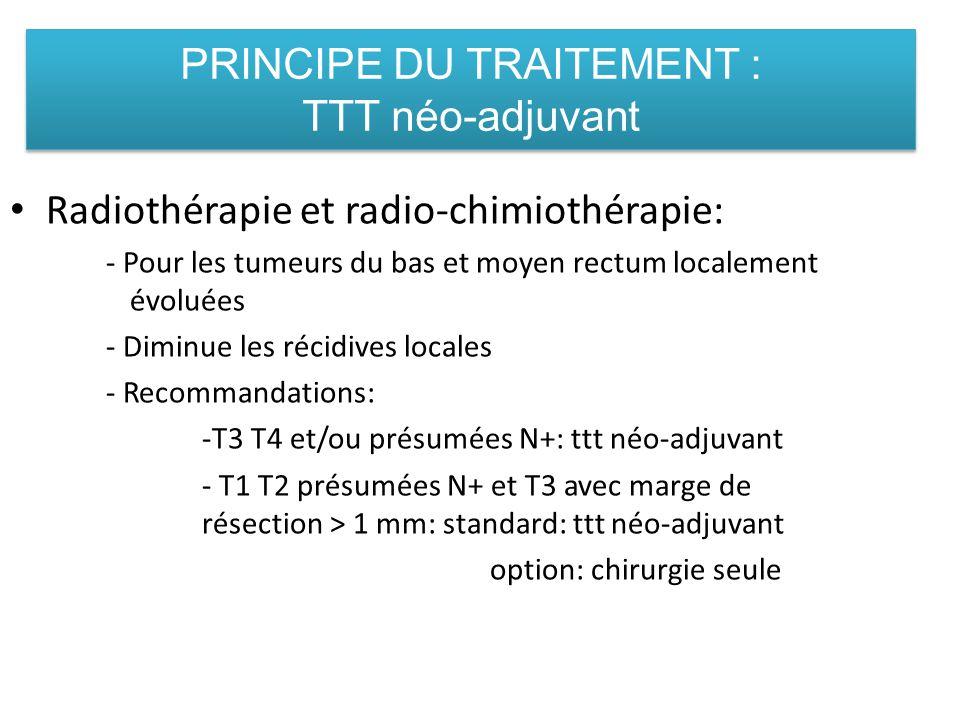 PRINCIPE DU TRAITEMENT : TTT néo-adjuvant