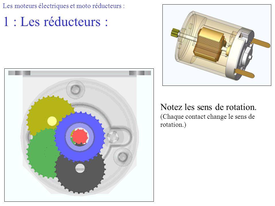 1 : Les réducteurs : Notez les sens de rotation.