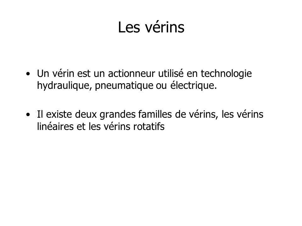 Les vérins Un vérin est un actionneur utilisé en technologie hydraulique, pneumatique ou électrique.