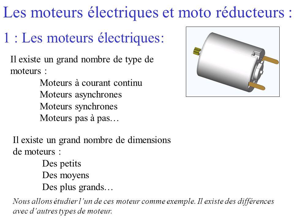 Les moteurs électriques et moto réducteurs :