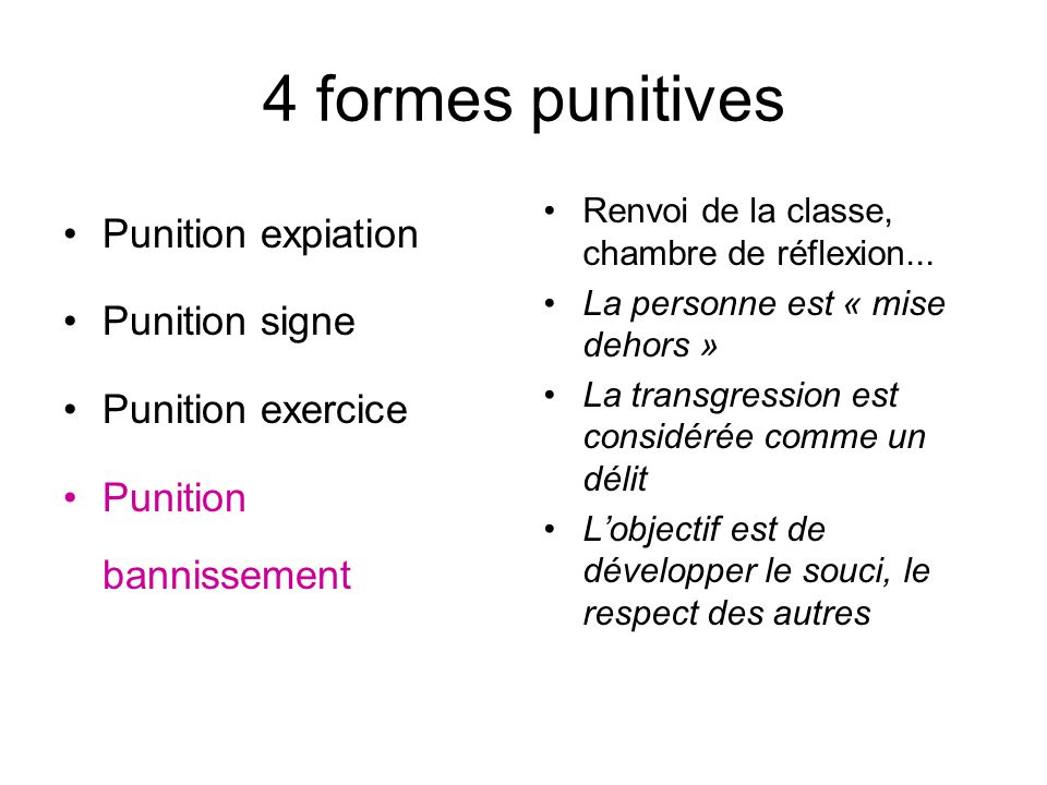 La sanction l gitimit de la sanction les formes punitives for Chambre de punition