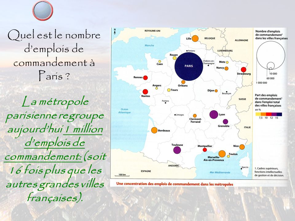 Quel est le nombre d'emplois de commandement à Paris