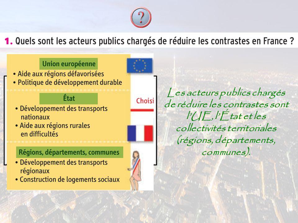 Les acteurs publics chargés de réduire les contrastes sont l'UE, l'État et les collectivités territoriales (régions, départements, communes).