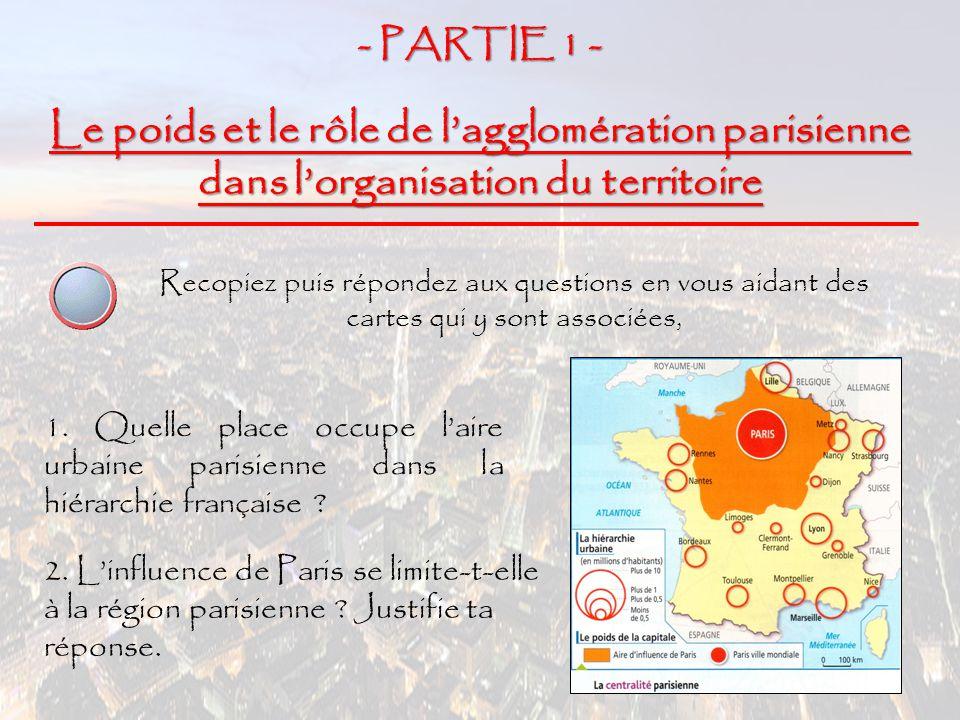 - PARTIE 1 - Le poids et le rôle de l'agglomération parisienne dans l'organisation du territoire.
