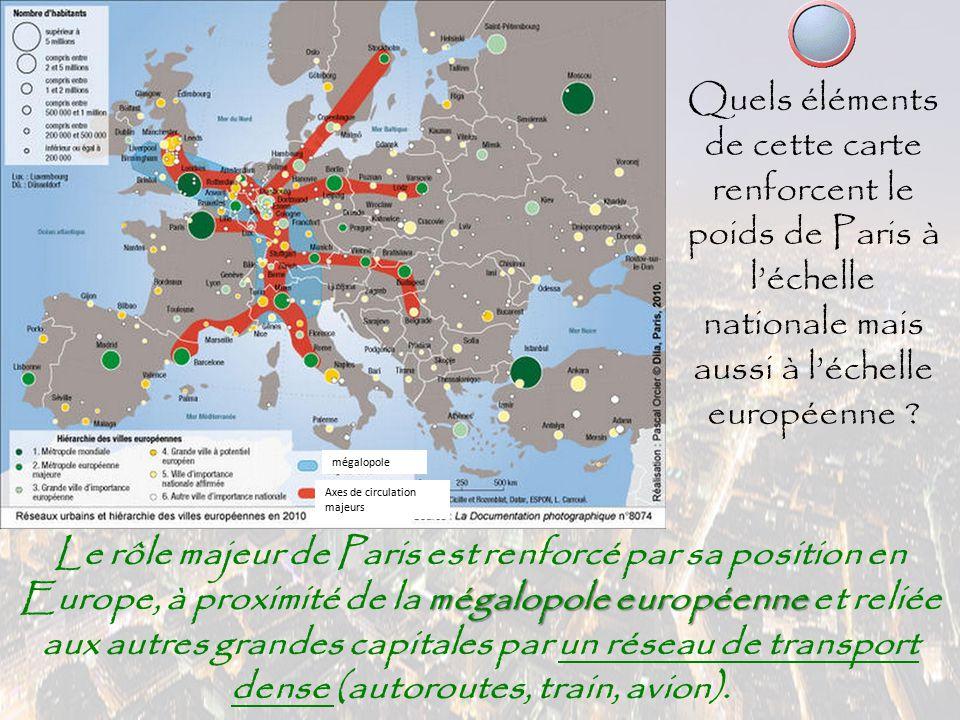 Quels éléments de cette carte renforcent le poids de Paris à l'échelle nationale mais aussi à l'échelle européenne