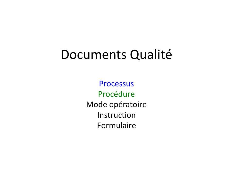 Processus Procédure Mode opératoire Instruction Formulaire
