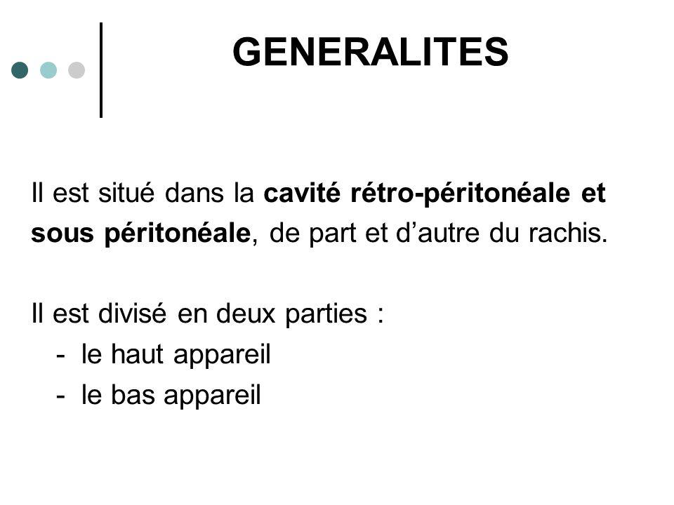 GENERALITES Il est situé dans la cavité rétro-péritonéale et