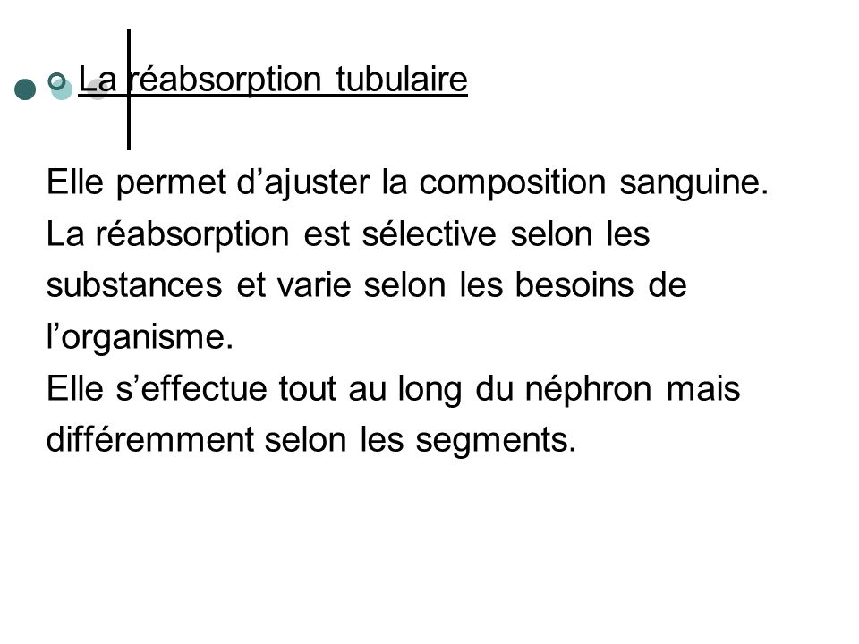La réabsorption tubulaire