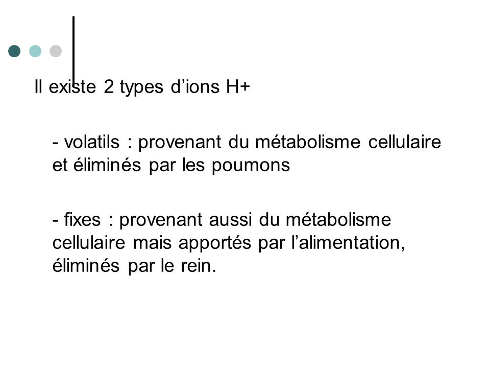 Il existe 2 types d'ions H+