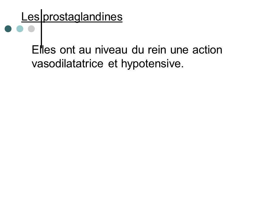 Les prostaglandines Elles ont au niveau du rein une action vasodilatatrice et hypotensive.