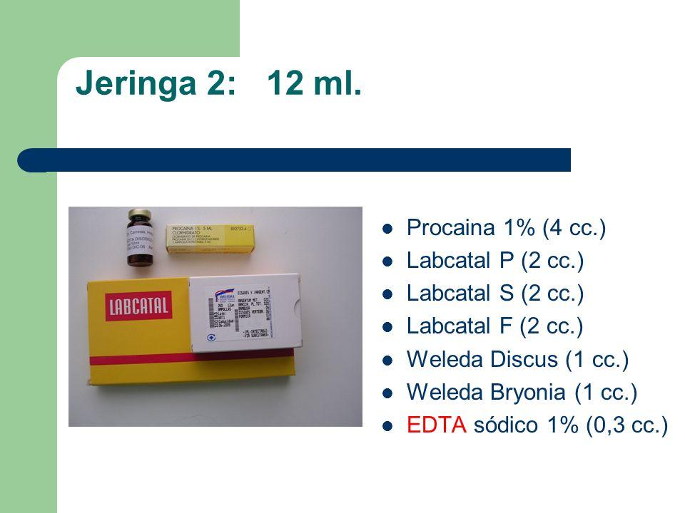 Jeringa 2: 12 ml. Procaina 1% (4 cc.) Labcatal P (2 cc.)