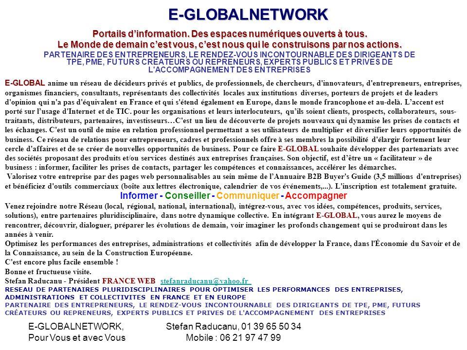 E-GLOBALNETWORK Portails d'information. Des espaces numériques ouverts à tous.